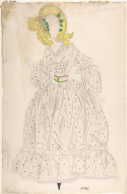 Woman wearing a yellow bonnet and polka-dot dress