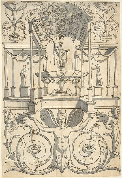 Grotesque with a Bacchus Fountain Placed in an Architectural Structure