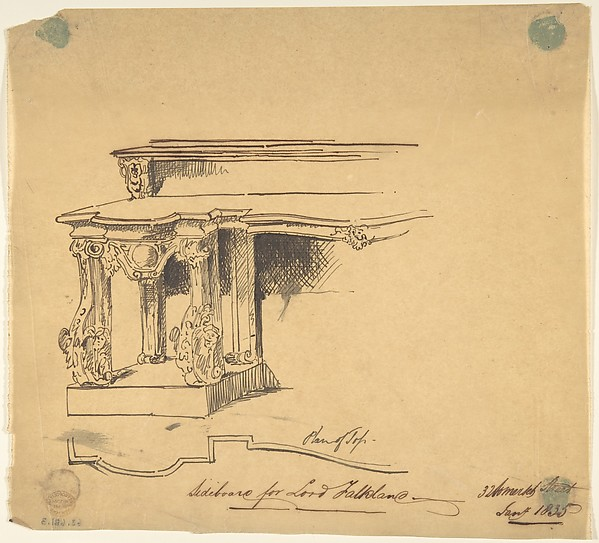 Design for Sideboard for Lord Falklane at Skutterskelfe, Yorkshire