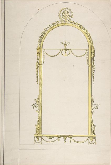 Fascinating Historical Picture of Sir William Chambers with Design for a Pier-glass with Arched Head and Palmette Terminations in 1743