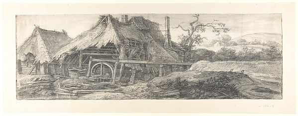 Landscape with a Mill (recto); A Steepled Façade and Farm House (verso)