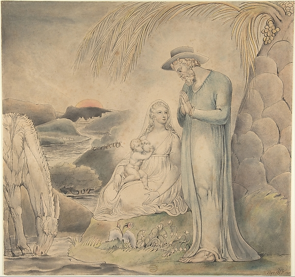 This is What William Blake and The Rest on the Flight into Egypt (The Repose of the Holy Family in Egypt) Looked Like  in 1806