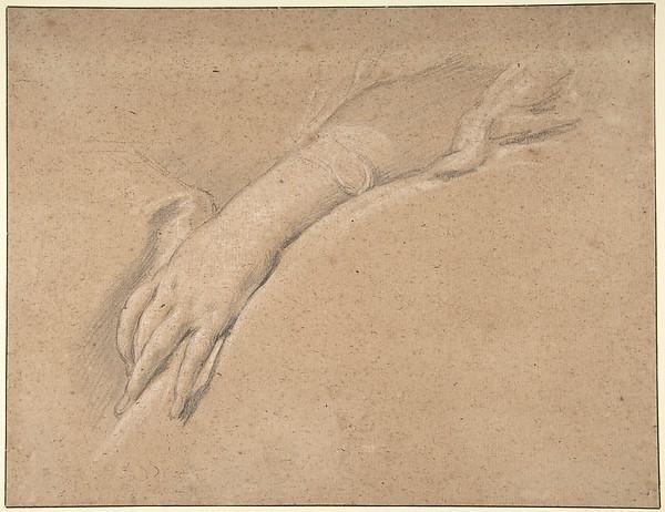 Study of the left hand of Mme de Pompadour
