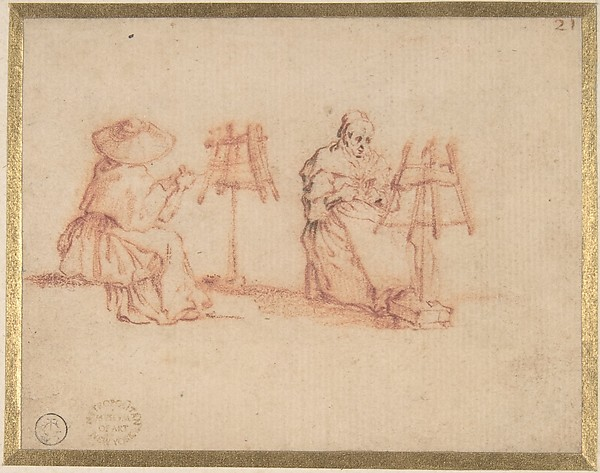 Two Women Winding Yarn