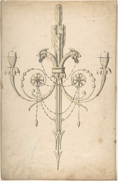 This is What Sir William Chambers and Design for a Girandole Composed of Three Clasping Arrows and Candle-branches Terminating in Cockerel Looked Like  in 1743