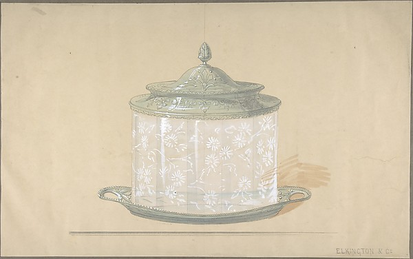 Design for a Glass Box with a Silver Base and Cover