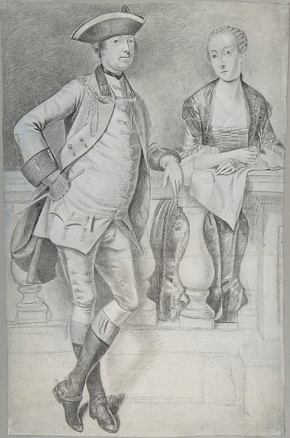 This is What Arthur Devis and Study for a Portrait of an Officer and His Wife Looked Like  in 1756
