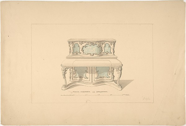 Design for Piccolo Pianoforte, Louis Quatorze Style