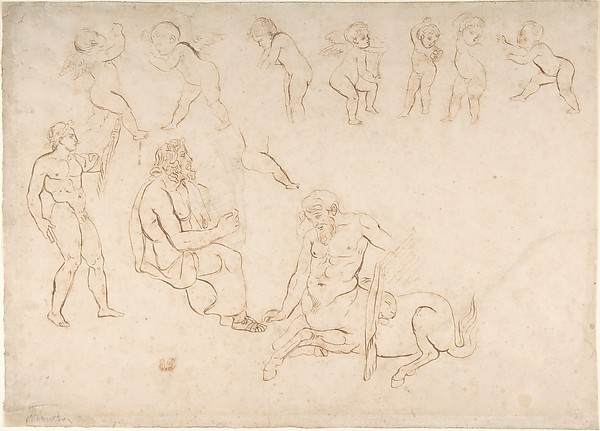 Studies for the decoration of the Library, Palais Bourbon, Paris:  standing nude athlete; seated man with a lyre; centaur; and seven putti (three with wings)