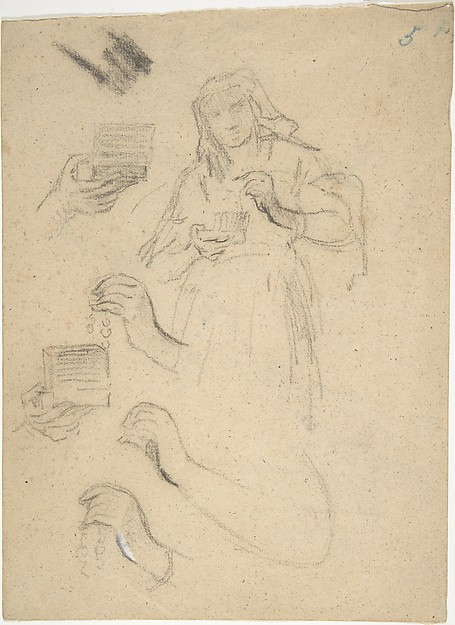 Woman holding an open jewelry box (recto); Studies for a figure composition and a leaded window (verso)