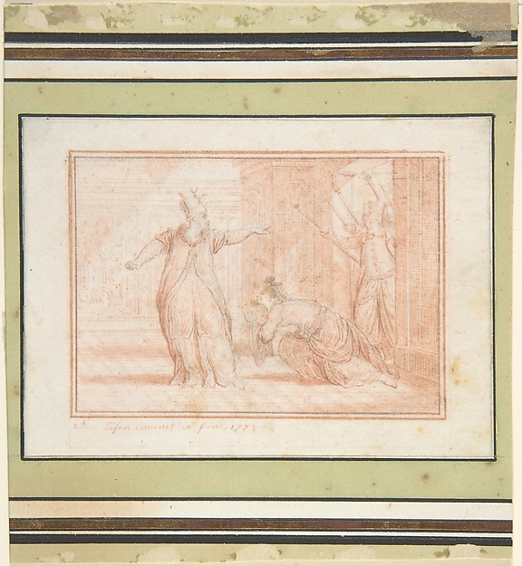 Fascinating Historical Picture of Charles Dominique Joseph Eisen with Study for a Book Illustration in 1773