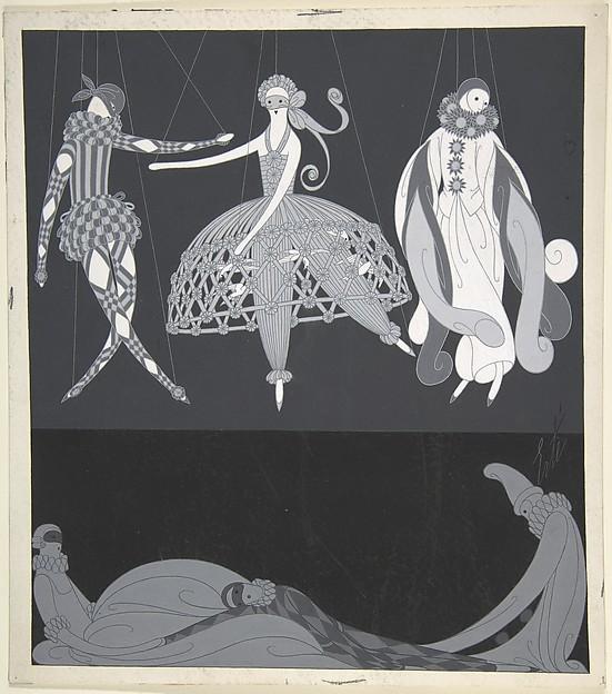 """""""Costumes pour les Bals Masqués: Arlequin, Colombine, Pierrot,"""" Illustration for Harper's Bazaar"""