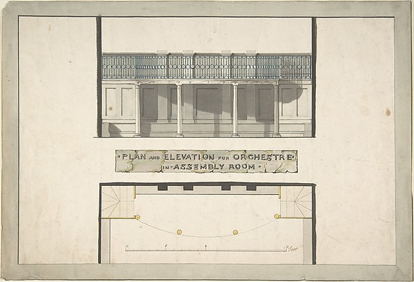 Design for an Orchestra Gallery in an Assembly Room, Plan and Elevation