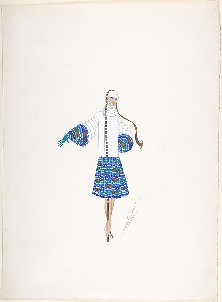 "Design for a Hat and Coat in White with Fish Pattern on Skirt and Sleeve Borders for ""Manhattan Mary,"" Majestic Theater, New York"