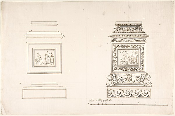Two pedestals with classical scenes