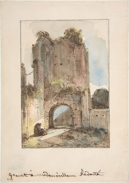Monk Seated Before a Ruined Gateway