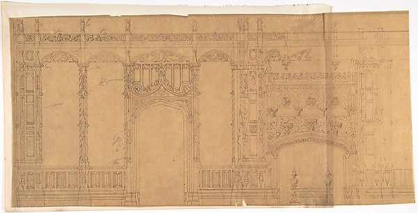 Design for a Gothic Wall Containing a Door and Fireplace