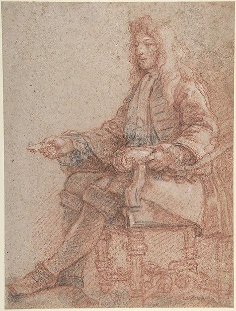 Fascinating Historical Picture of Charles de la Fosse with Gentleman Seated in an Armchair in 1775