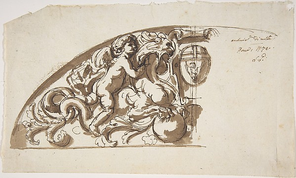 Half Lunette with Putto and Monster