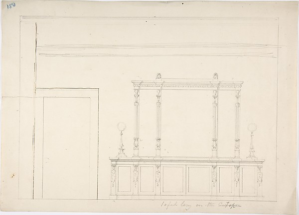 Design for a Large Mirrored Cabinet Adorned with Two Lamps