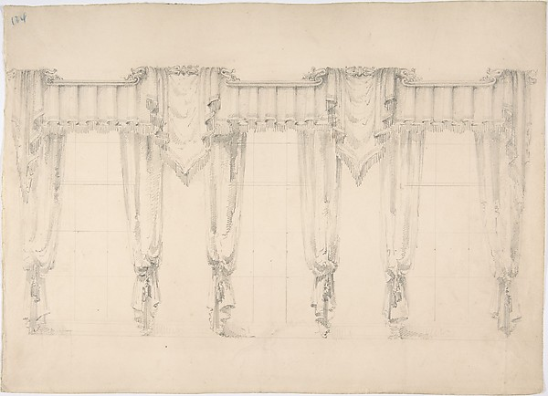 Design for Fringed Curtains Surrounding Three Windows