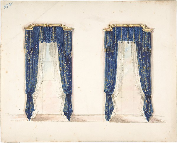 Curtains Ideas blue and gold curtains : Anonymous, British, 19th century | Design for Blue and Gold ...