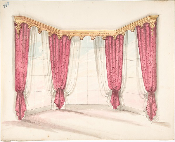 Design for Red Curtains with a Gold Pelmet