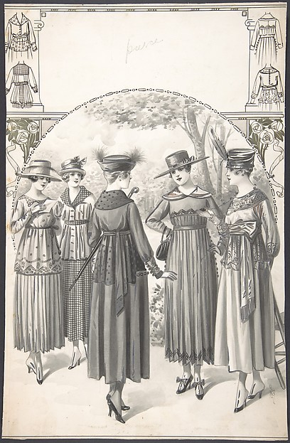 Designs for Five Women's Dresses