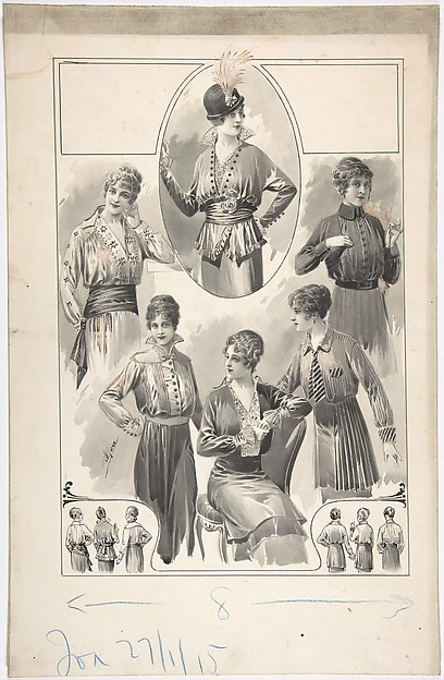 Designs for Six Women's Blouses