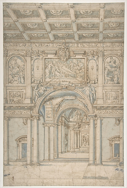 Fascinating Historical Picture of Abbate Paolo de Angelis with Study of the Interior of Santa Maria Maggiore in Rome. in 1621