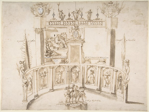 Fascinating Historical Picture of Francesco Allegrini with Design for a Garden Fte with a Semi-circular Wall and Statues in Niches. in 1615