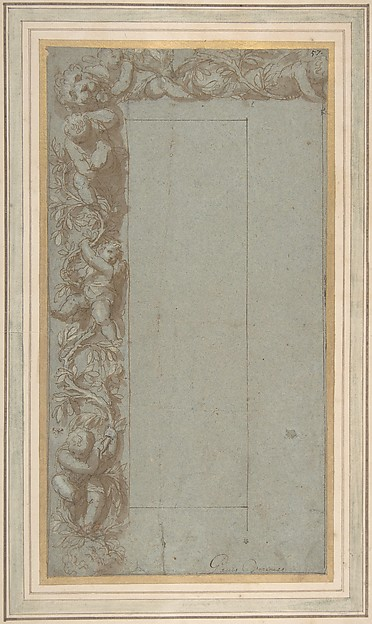 Design for Ornamental Border with Foliage, Putti and a Lion's Head.