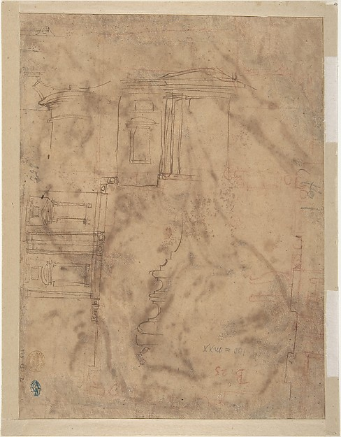 A River God (recto); Sketches for the Vestibule of the Laurenziana, Florence (verso)