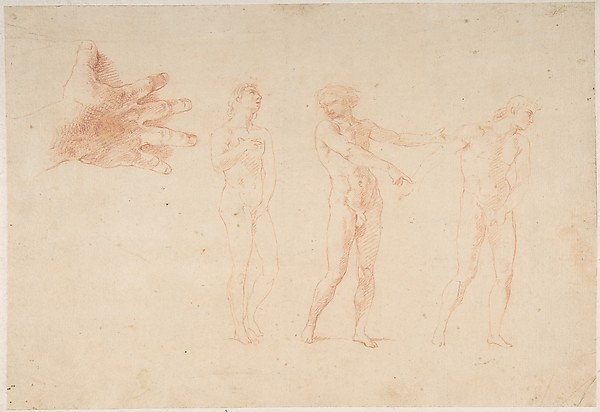 Three Nude Male Figures; Study of the Right Hand of the Figure on the Left