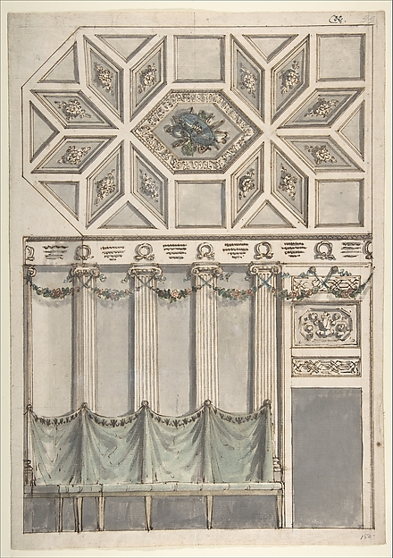 Framed Design for an Architectural Interior: Coffered Ceiling with Central Hexagonal Cartouche and Walls with Floral Ornament and Drapery.