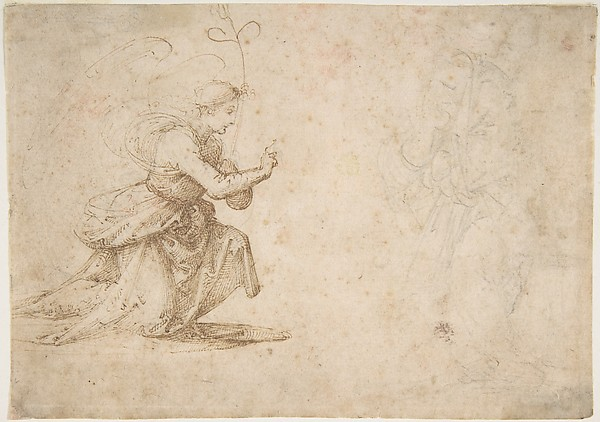 The Annunciation (recto); Faint View of Buildings (verso)
