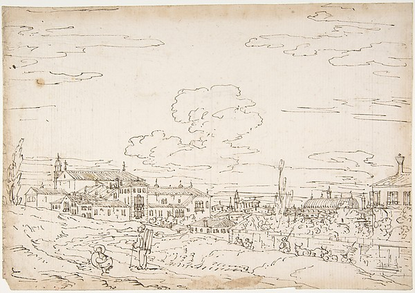 Padua from the East, with San Francesco and the Salone