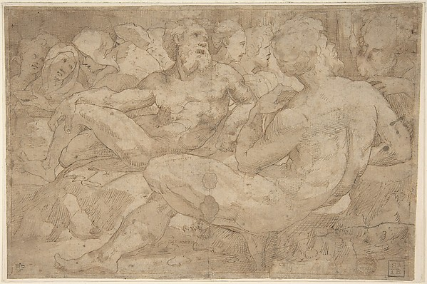 Copy in Reverse Design Orientation: Based on the Group of Reclining Figures at Left in Domenico Beccafumi's Scene of Moses Striking the Rock in the Pavement of Siena Cathedral