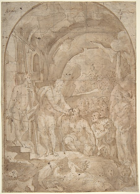 Fascinating Historical Picture of Domenico Beccafumi with The Descent of Christ to Limbo (recto); Coats of Arms of Florentine and Sienese Families (verso) in 1536