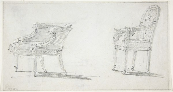 Studies for Two Armchairs (recto); sketches for Three Chairs and Parts of a Fourth (verso)