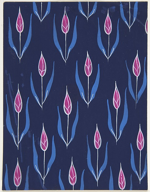 Fabric Design with Red Flower Buds