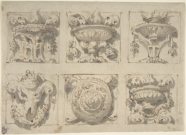 Drawing Devided in Six Squares Including Unrs, Vases, Tripods, Steer's Skull and Bosse