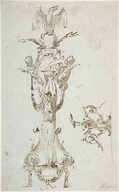 Ornamental Design with Caryatid Figure Standing on Stool and Holding a Bowl; Puttis on the Sides Hold Drapery and Support Base with an Eagle; on the Right Side Decorative Figures with Acanthus surmounted by Flowing.