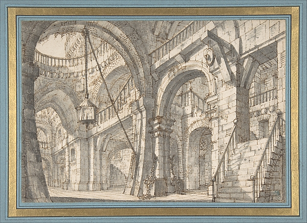 Fascinating Historical Picture of Serafino Brizzi with Perspective for a Stage Set with Stairs and Arches in 1684