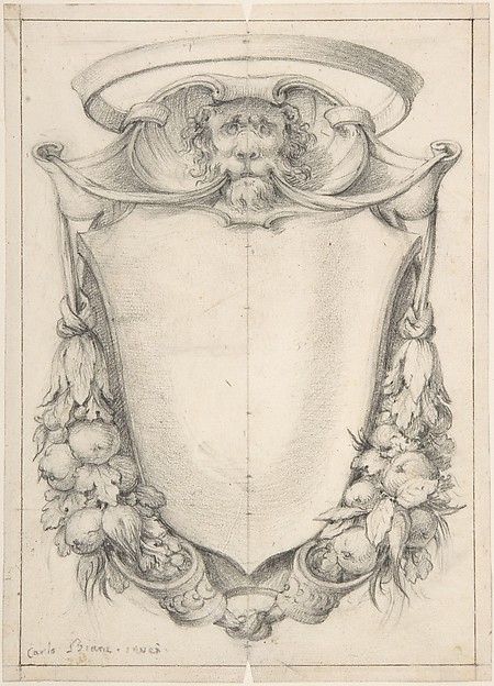 Sketch for a Cartouche with Grotesque Masks and Harpy