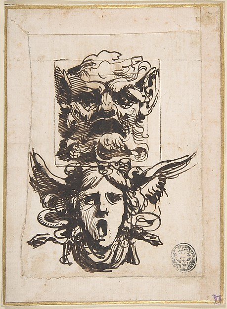 Sketch with Two Masks:  A Satyr's Head and Winged Medusa's Head.