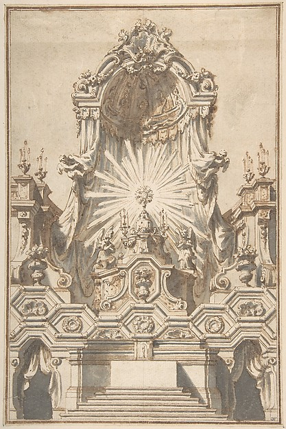 Fascinating Historical Picture of Giuseppe Galli Bibiena with Framed Design for an Altar in 1710
