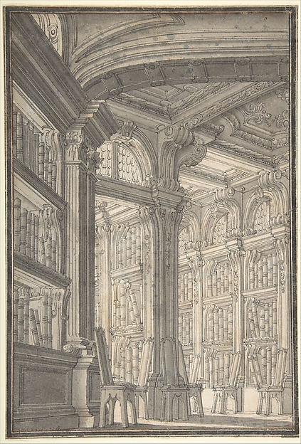 Fascinating Historical Picture of Carlo Galli Bibiena with Foreshortening of a Library in 1728