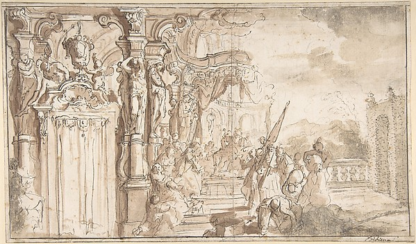 Fascinating Historical Picture of Carlo Galli Bibiena with Design for a Stage Set| Solomon Receiving the Queen of Sheba under a Baldacchino with Fantastical A in 1728