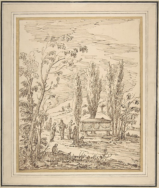 Fascinating Historical Picture of Gian Antonio Burrini with Landscape with Figures near a Tomb in 1656